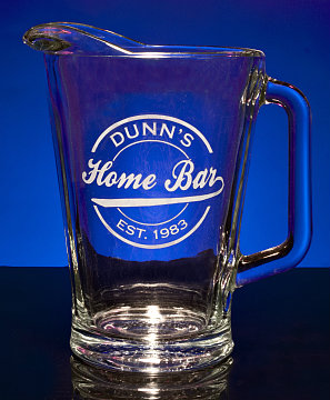 Personalized Home Bar Glass Pitcher