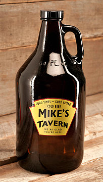 Personalized Yellow Tavern Glass Growler
