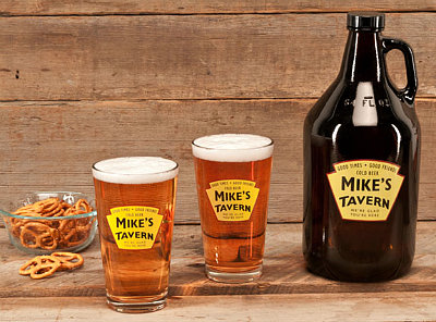 Personalized Yellow Tavern Glass Growler with Pint Glasses (sold separately)