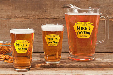 Personalized Yellow Tavern Glass Pitcher with pint glasses (sold separately)