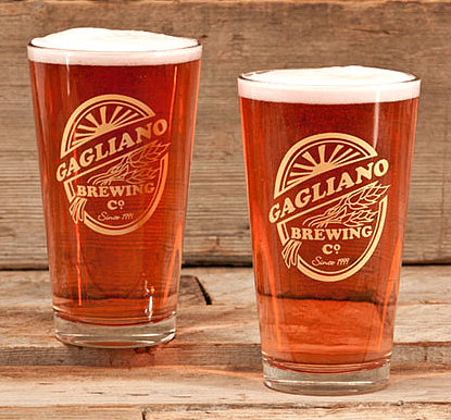 Personalized Brewing Company Pint Glasses - Gold Version