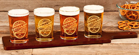 Personalized Brewing Company Beer Flight with 4 Taster Glasses - Gold Version