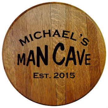 Personalized Man Cave Barrel Head Sign with Established Date