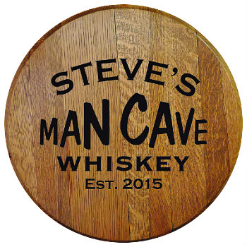 Personalized Man Cave Barrel Head Sign with Liquor Choice