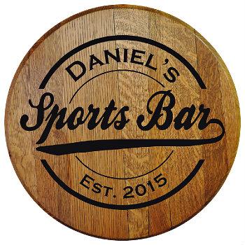 Personalized Sports Bar Barrel Head Sign