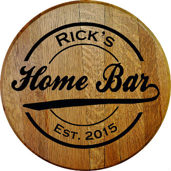 Personalized Home Bar Barrel Head Sign