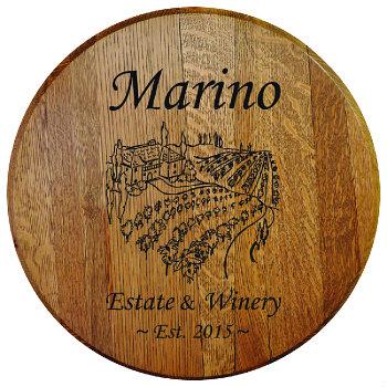 Personalized Tuscan Villa Barrel Head Sign