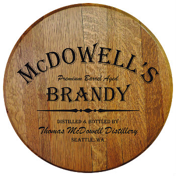 Personalized Barrel Head Sign - Brandy Distillery