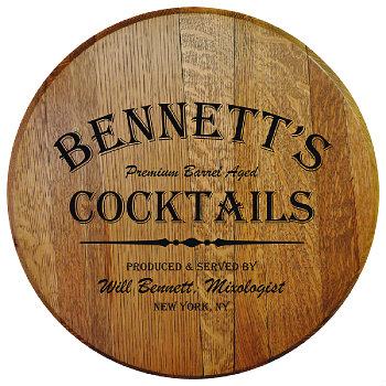 Personalized Barrel Head Sign - Cocktails