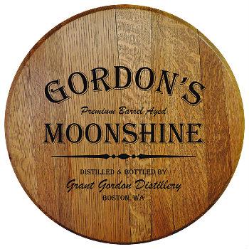 Personalized Barrel Head Sign - Moonshine Distillery