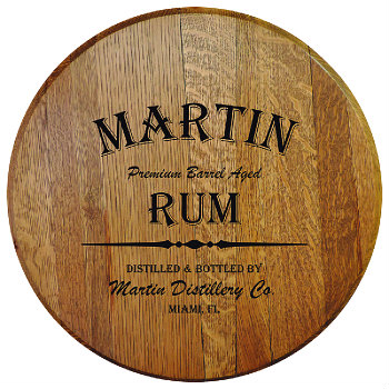 Personalized Barrel Head Sign - Rum Distillery