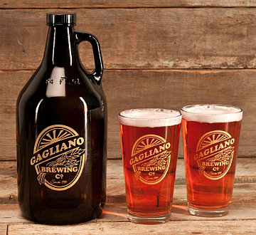 Personalized Brewing Company Growler and Pint Glasses - Gold Version - Gift Set
