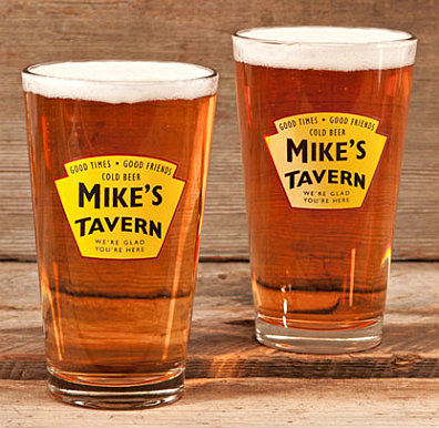 Personalized Yellow Tavern Pint Glasses - Buy 4 Pint Glasses, Get a Insulating Growler Carrying Case