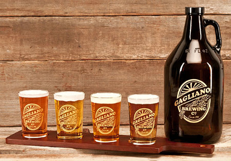 Personalized Brewing Company Growler, Beer Flight and Taster Glasses - Gold Version - Gift Set