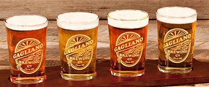 Personalized Brewing Company Beer Flight and Taster Glasses - Gold Version - CLOSE UP
