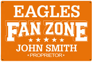 Personalized Fan Zone Sign - Orange with White text (writing)