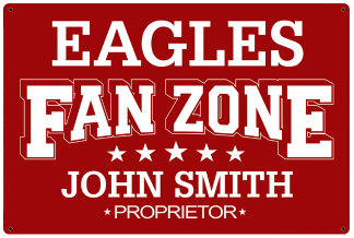 Personalized Fan Zone Sign - Red with White text (writing)