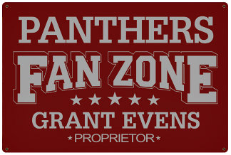 Personalized Fan Zone Sign - Maroon with Gray text (writing)