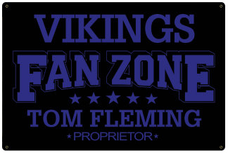 Personalized Fan Zone Sign - Black with Purple text (writing)
