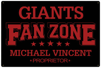 Personalized Fan Zone Sign - Black with Red text (writing)