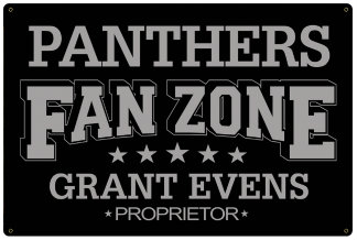 Personalized Fan Zone Sign - Black with Gray text (writing)