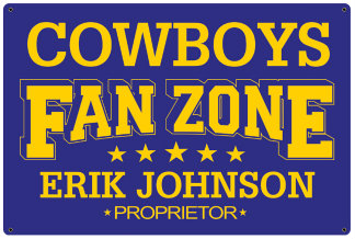 Personalized Fan Zone Sign - Purple with Yellow text (writing)
