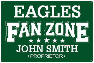 Personalized Fan Zone Sign - Green with White text (writing)
