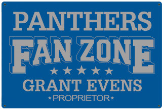 Personalized Fan Zone Sign - Light Blue with Gray text (writing)
