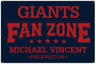 Personalized Fan Zone Sign - Navy Blue with Red text (writing)