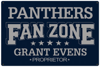Personalized Fan Zone Sign - Navy Blue with Gray text (writing)