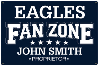 Personalized Fan Zone Sign - Navy Blue with White text (writing)