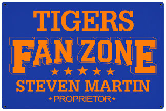 Personalized Fan Zone Sign - Royal Blue with Orange text (writing)