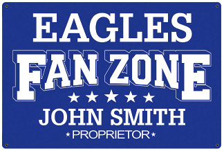 Personalized Fan Zone Sign - Royal Blue with White text (writing)