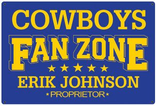 Personalized Fan Zone Sign - Royal Blue with Yellow text (writing)