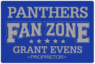 Personalized Fan Zone Sign - Royal Blue with Gray text (writing)