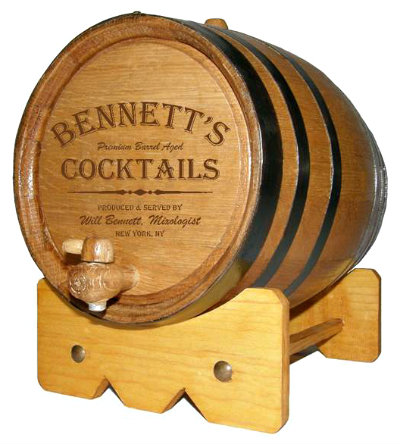 Personalized Small Oak Barrel - Cocktails - with FREE wood stand