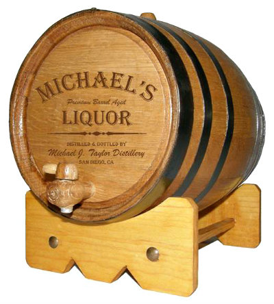 Personalized Small Oak Barrel - Liquor - with FREE wood stand