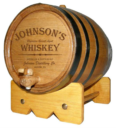 Personalized Small Oak Barrel - Whiskey - with FREE wood stand