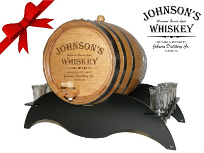 Personalized Small Oak Barrel - Whiskey Gift Set - with black steel metal stand and shot glasses