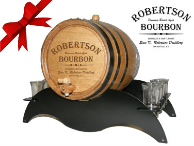 Personalized Small Oak Barrel - Bourbon Gift Set - with black steel metal stand and shot glasses