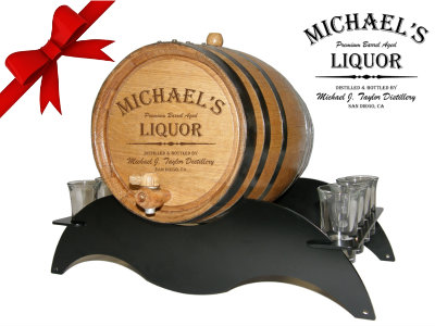 Personalized Small Oak Barrel - Liquor Gift Set - with black steel metal stand and shot glasses