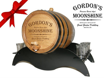 Personalized Small Oak Barrel - Moonshine Gift Set - with black steel metal stand and shot glasses