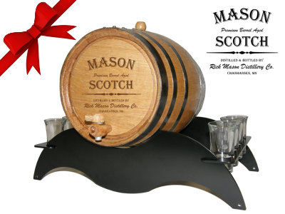 Personalized Small Oak Barrel - Scotch Gift Set - with black steel metal stand and shot glasses