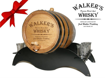 Personalized Small Oak Barrel - Whisky Gift Set - with black steel metal stand and shot glasses