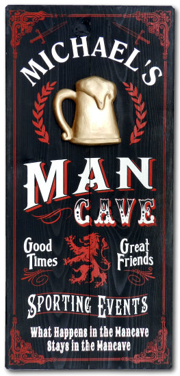 Personalized Man Cave Vintage Wood Planked Sign with a 3D Gold Beer Mug Relief