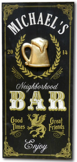 Personalized Neighborhood Bar Vintage Wood Planked Sign with a 3D Gold Beer Mug Relief