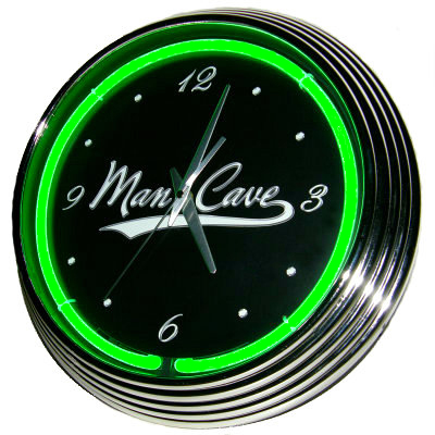 Man Cave Neon Clock - Green