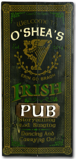Personalized Irish Pub Vintage Wood Planked Bar Sign with a 3D Pub Plaque Relief