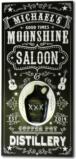 Personalized Moonshine Saloon Vintage Wood Planked Bar Sign with a 3D Black Jug Relief