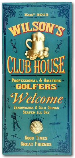 Personalized Golf Club House Vintage Wood Planked Sign with a 3D Gold Beer Mug and Golf Ball Relief